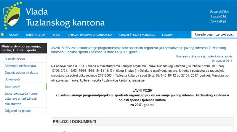 Objavljen Javni poziv za projekte iz oblasti sporta i tjelesne kulture u TK