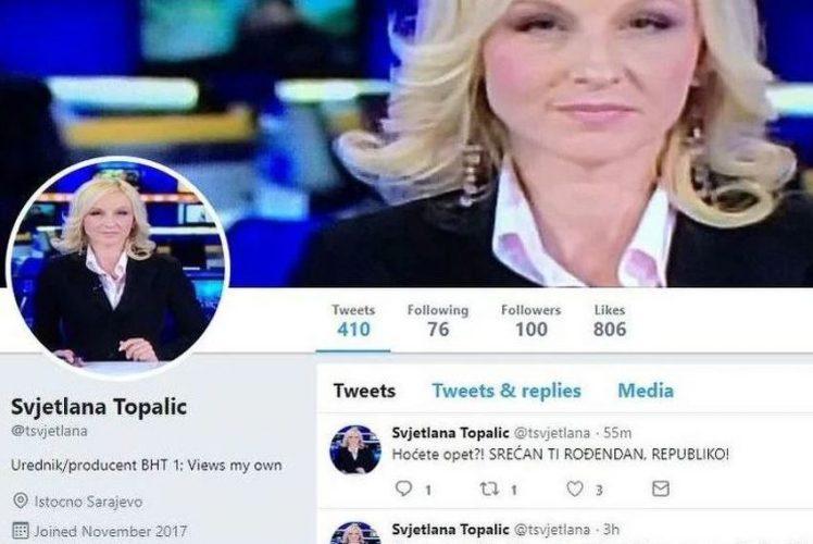 Svjetlana Topalić zbog tvitova o Danu RS-a smijenjena s pozicije urednice i voditeljice Dnevnika BHT1