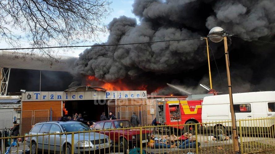 Veliki požar na Gradskoj pijaci u Tuzli