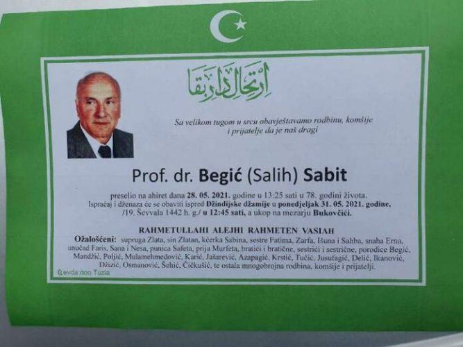 Komemoracija prof. dr. Sabitu Begiću sutra na Tehnološkom fakultetu