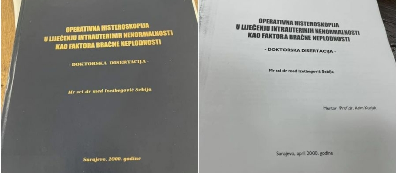 U doktorskoj disertaciji dr. Izetbegović naveden mentor dr. Asim Kurjak koji je to demantirao